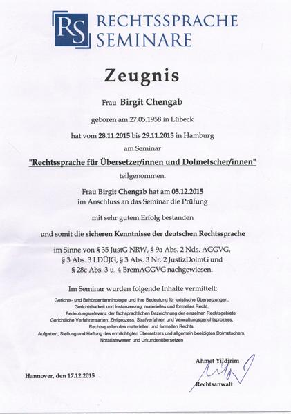 Zeugnis der Teilnahme am Seminar Rechtssprache für Übersetzer/innen und Dolmetscher/innen